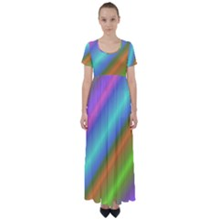 Background Course Abstract Pattern High Waist Short Sleeve Maxi Dress