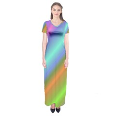 Background Course Abstract Pattern Short Sleeve Maxi Dress