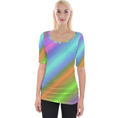 Background Course Abstract Pattern Wide Neckline Tee