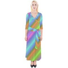 Background Course Abstract Pattern Quarter Sleeve Wrap Maxi Dress