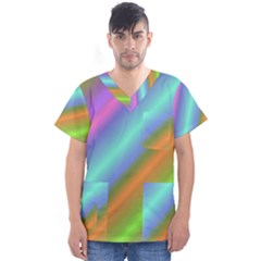 Background Course Abstract Pattern Men s V Neck Scrub Top