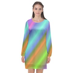 Background Course Abstract Pattern Long Sleeve Chiffon Shift Dress