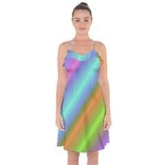 Background Course Abstract Pattern Ruffle Detail Chiffon Dress