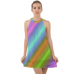 Background Course Abstract Pattern Halter Tie Back Chiffon Dress
