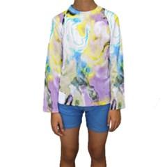 Watercolour Watercolor Paint Ink Kids  Long Sleeve Swimwear