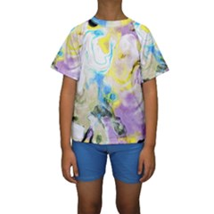 Watercolour Watercolor Paint Ink Kids  Short Sleeve Swimwear