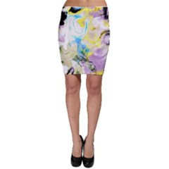 Watercolour Watercolor Paint Ink Bodycon Skirt