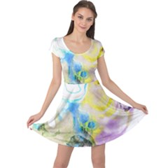 Watercolour Watercolor Paint Ink Cap Sleeve Dress