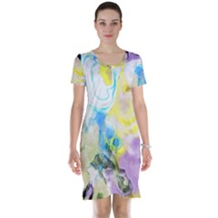 Watercolour Watercolor Paint Ink Short Sleeve Nightdress