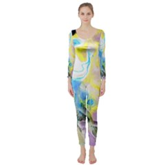 Watercolour Watercolor Paint Ink Long Sleeve Catsuit