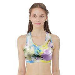 Watercolour Watercolor Paint Ink Sports Bra With Border