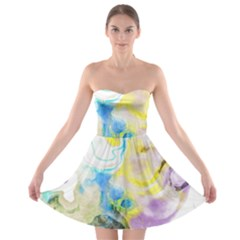 Watercolour Watercolor Paint Ink Strapless Bra Top Dress