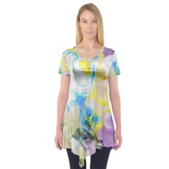 Watercolour Watercolor Paint Ink Short Sleeve Tunic