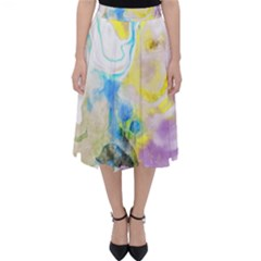Watercolour Watercolor Paint Ink Folding Skater Skirt