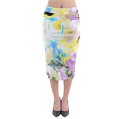 Watercolour Watercolor Paint Ink Midi Pencil Skirt