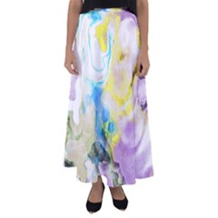 Watercolour Watercolor Paint Ink Flared Maxi Skirt