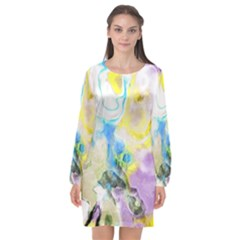 Watercolour Watercolor Paint Ink Long Sleeve Chiffon Shift Dress