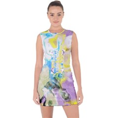 Watercolour Watercolor Paint Ink Lace Up Front Bodycon Dress