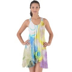 Watercolour Watercolor Paint Ink Show Some Back Chiffon Dress