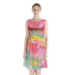 Watercolour Gradient Sleeveless Waist Tie Chiffon Dress