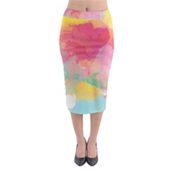 Watercolour Gradient Midi Pencil Skirt