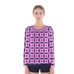 Pattern Pink Squares Square Texture Women s Long Sleeve Tee