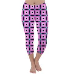 Pattern Pink Squares Square Texture Capri Winter Leggings