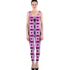 Pattern Pink Squares Square Texture Onepiece Catsuit