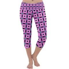 Pattern Pink Squares Square Texture Capri Yoga Leggings
