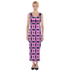 Pattern Pink Squares Square Texture Fitted Maxi Dress