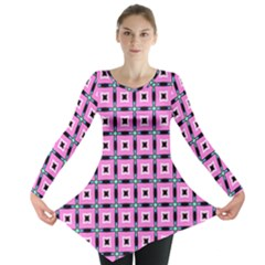Pattern Pink Squares Square Texture Long Sleeve Tunic