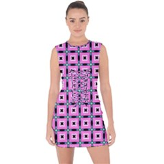Pattern Pink Squares Square Texture Lace Up Front Bodycon Dress