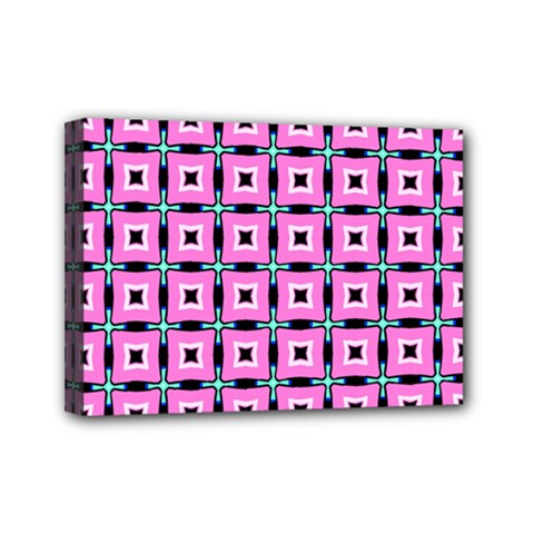 Pattern Pink Squares Square Texture Mini Canvas 7  X 5