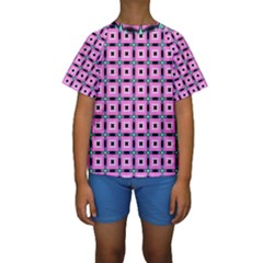 Pattern Pink Squares Square Texture Kids  Short Sleeve Swimwear