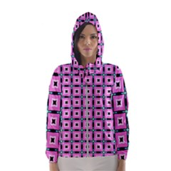 Pattern Pink Squares Square Texture Hooded Wind Breaker (women)