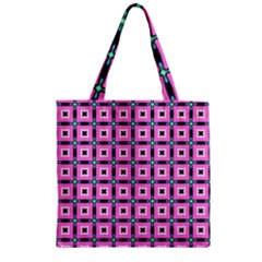 Pattern Pink Squares Square Texture Zipper Grocery Tote Bag
