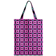Pattern Pink Squares Square Texture Zipper Classic Tote Bag