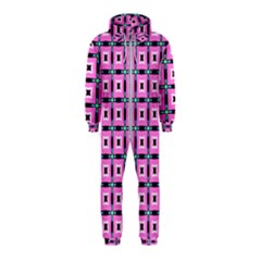 Pattern Pink Squares Square Texture Hooded Jumpsuit (kids)