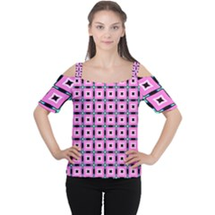 Pattern Pink Squares Square Texture Cutout Shoulder Tee