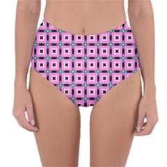 Pattern Pink Squares Square Texture Reversible High Waist Bikini Bottoms