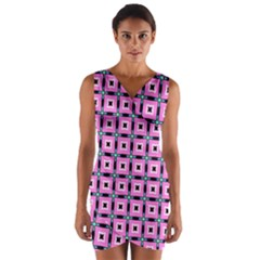 Pattern Pink Squares Square Texture Wrap Front Bodycon Dress