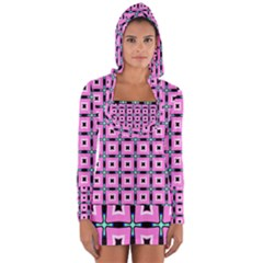 Pattern Pink Squares Square Texture Long Sleeve Hooded T Shirt