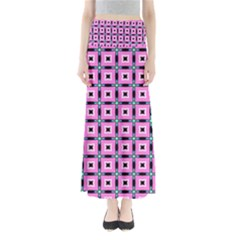 Pattern Pink Squares Square Texture Full Length Maxi Skirt