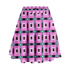 Pattern Pink Squares Square Texture High Waist Skirt