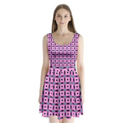 Pattern Pink Squares Square Texture Split Back Mini Dress