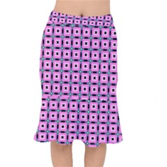 Pattern Pink Squares Square Texture Mermaid Skirt