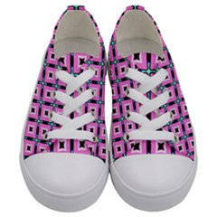 Pattern Pink Squares Square Texture Kids  Low Top Canvas Sneakers