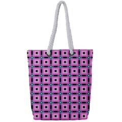 Pattern Pink Squares Square Texture Full Print Rope Handle Tote (small)