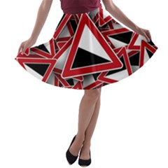 Road Sign Auto Gradient Down Below A Line Skater Skirt