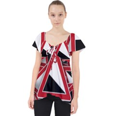 Road Sign Auto Gradient Down Below Lace Front Dolly Top